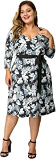 Women's Plus Size Sweetheart Neck Belted Floral Party Cocktail Midi Wrap Dress