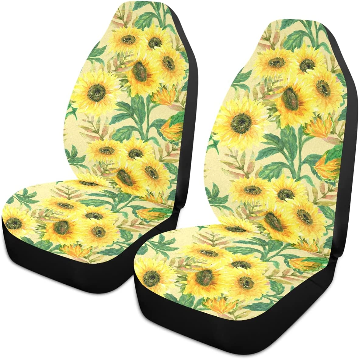 Oarencol Sunflower Car Max 61% OFF Seat Covers Vintage Watercolor Le Flowers Indefinitely