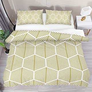 Josid Gold Honeycomb Pattern Duvet Cover Set,Comforter Cover 3 Pieces Bedding Set with Zipper Closure, 2 Pillow Shams 1 Duvet Cover,Bedspread for Childrens/Kids Queen Size
