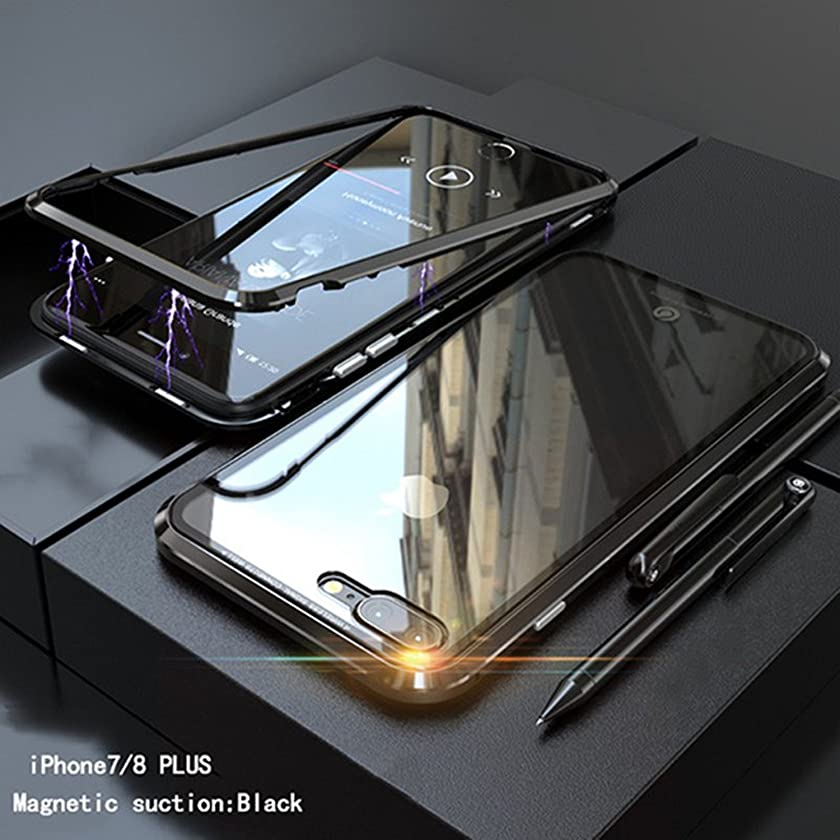 Dual Color Aluminum Metal Magnetic Adsorption Case For iPhone 7 8 X 10 Plus Clear Tempered Glass Case For Samsung S9 S9 Plus (Black, For iPhone 8 Plus)