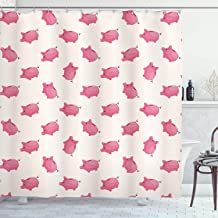 Ambesonne Pig Decor Collection, Piggy Bank Pattern Money Wealth Luck Symbols Fun Design Artwork, Polyester Fabric Bathroom Shower Curtain Set with Hooks, Pink and White