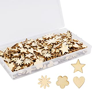 Kimi-Hosi Lot de 300 mini décorations en bois naturelles en forme de fleur en forme de cœur, copeaux de bois, en forme d'é...