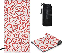 Perfectly Customized Microfiber Towel Elegant Red Doodle Hearts Small & Lightweight Microfiber Travel Towels, XL Yoga Large Gym Beach Sport Towel 63 x 31.5 inch