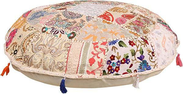 Bohemian Round Floor Cushion Traditional Vintage Indian Pouf Floor Foot Stool 100 Cotton Art Decor Cushion Only Cover Filler Not Included Embroidered Chair Cover Vintage Pouf 21 Indian Bohemian