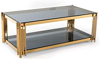 Limari Home Camaoni Collection Modern Style Smoked Glass Living Room Coffee Table With Polished Stainless Steel Frame, Blue & Gold