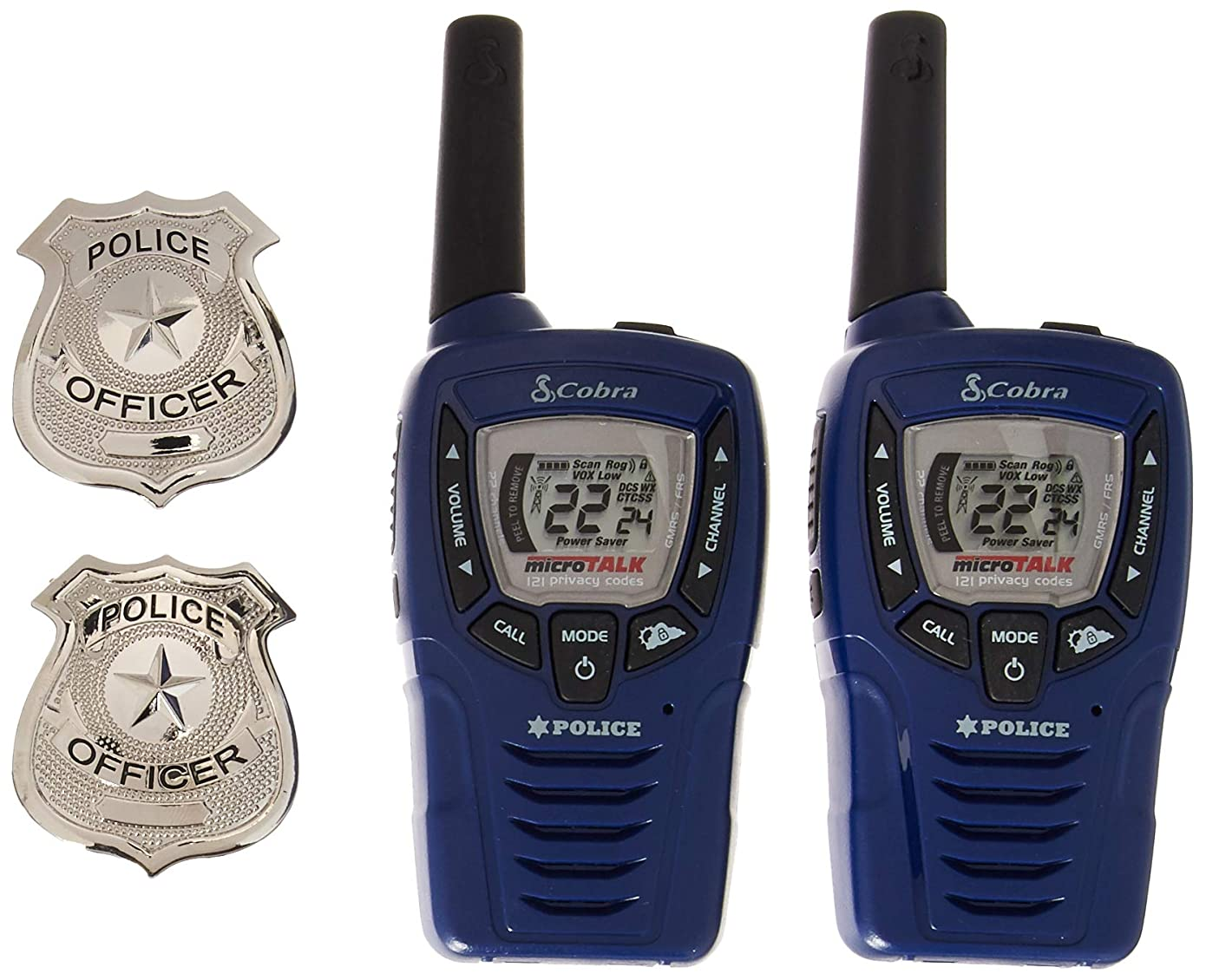 Cobra CX396A Kids' Walkie Talkies Two-Way Radios Toy for Kids, Police Version with 2 Badges (Pair)