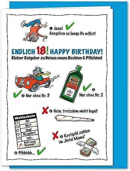 Carte D Anniversaire Amusante Et Impertinente Format Xxl Pour 18e Anniversaire Avec Enveloppe Format A4 Amazon Fr Fournitures De Bureau