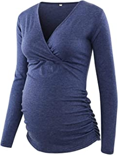 Women's Maternity Tops Long Sleeve Side Ruched Nursing Tops Maternity Shirts Navy