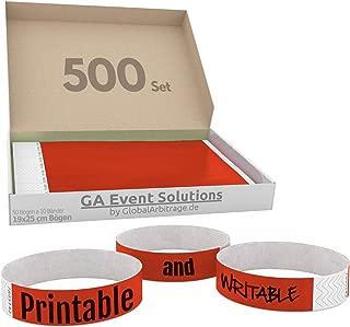 Pulseras Para Eventos GA Event Solution de Tyvek, Rojo, 500 unidades