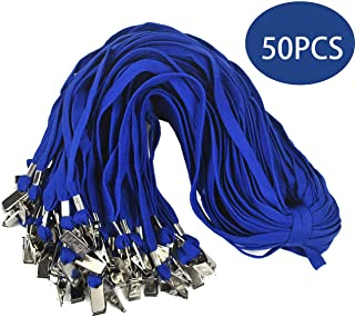 Lanldc 32-Inch Blue lanyards Flat Lanyards with Clip for Id Badges,50 Pack