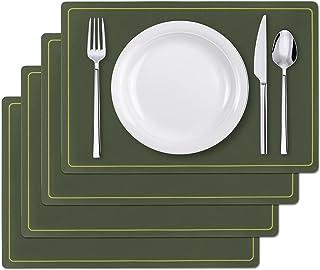 Set de Table, en Cuir PU, Facile à Nettoyer, Lavable, Antidérapant, Chaleur Résiste 80℃, Woputne Set de Table 45x30cm pour...