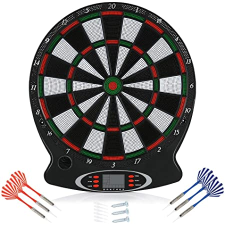 Zerodis Electronic Dart Board, LCD Display 15 Inch Dart Board Set Safety Dart Board Game Set with 6 Soft Tip Darts Target Board, Sports Gifts for Kids and Adults