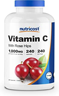Nutricost Vitamin C with Rose Hips 1025mg, 240 Capsules - Vitamin C 1,000mg, Rose Hips 25mg,...