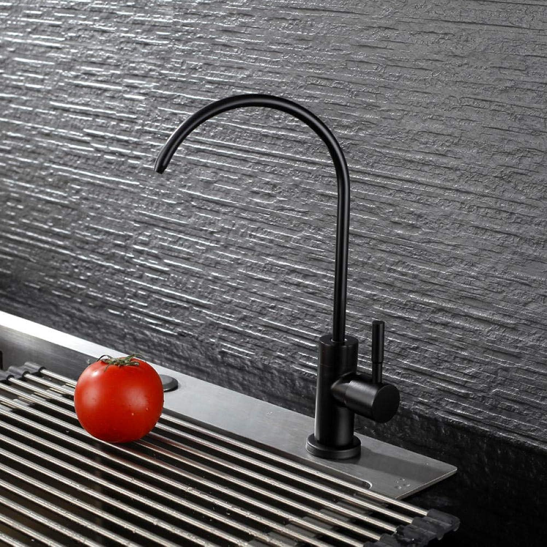 Vintage Messing heies und kaltes Wasser schwarz Küchenarmatur 304 Edelstahl Single Cold Sink Sink Wasserfilter gerade Trinkwasserhahn