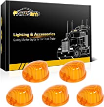 Partsam 5X Amber Round-Shape Cab Marker 9069A Cover Lens Compatible with Chevrolet/GMC C/K Series 1973-1987 Full Size Pickup Trucks Top Roof Light Cover Lens