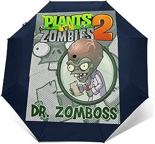Plants Vs Zombies Dr Zomboss Windproof Compact Auto Open And Close Folding Umbrella,Automatic Foldable Travel Parasol Umbrella