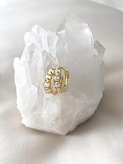 Faux Opal Earrings, Opal Hoop Earrings for Women, 14K Gold-Plated 12mm, Opal Huggie Earrings