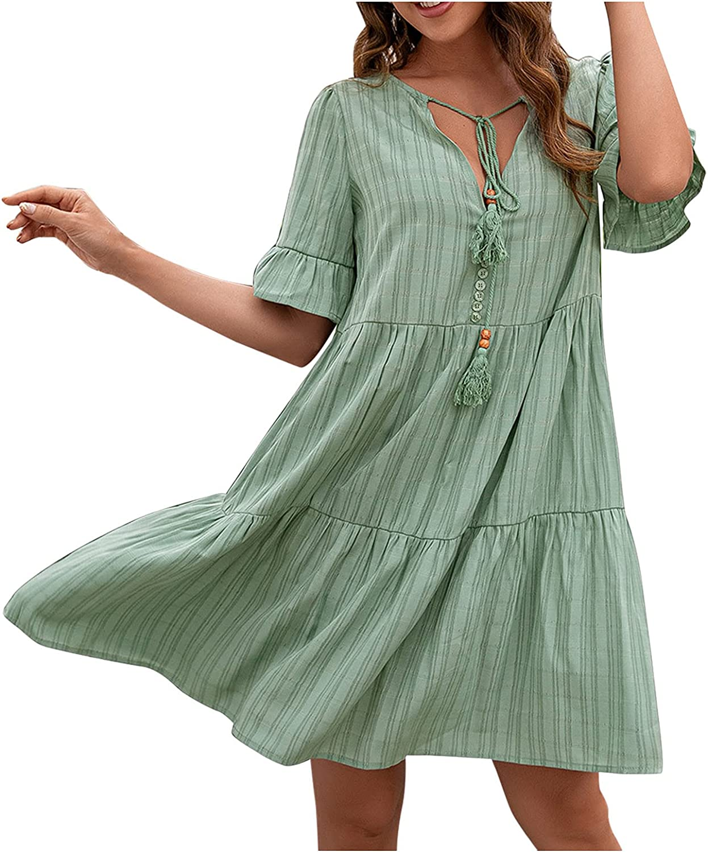 IFOTIME Summer Dresses for Women Short Sleeve V Neck Cottagecore Dresses Casual Loose Flowy Swing Shift Dress Beach Sundress