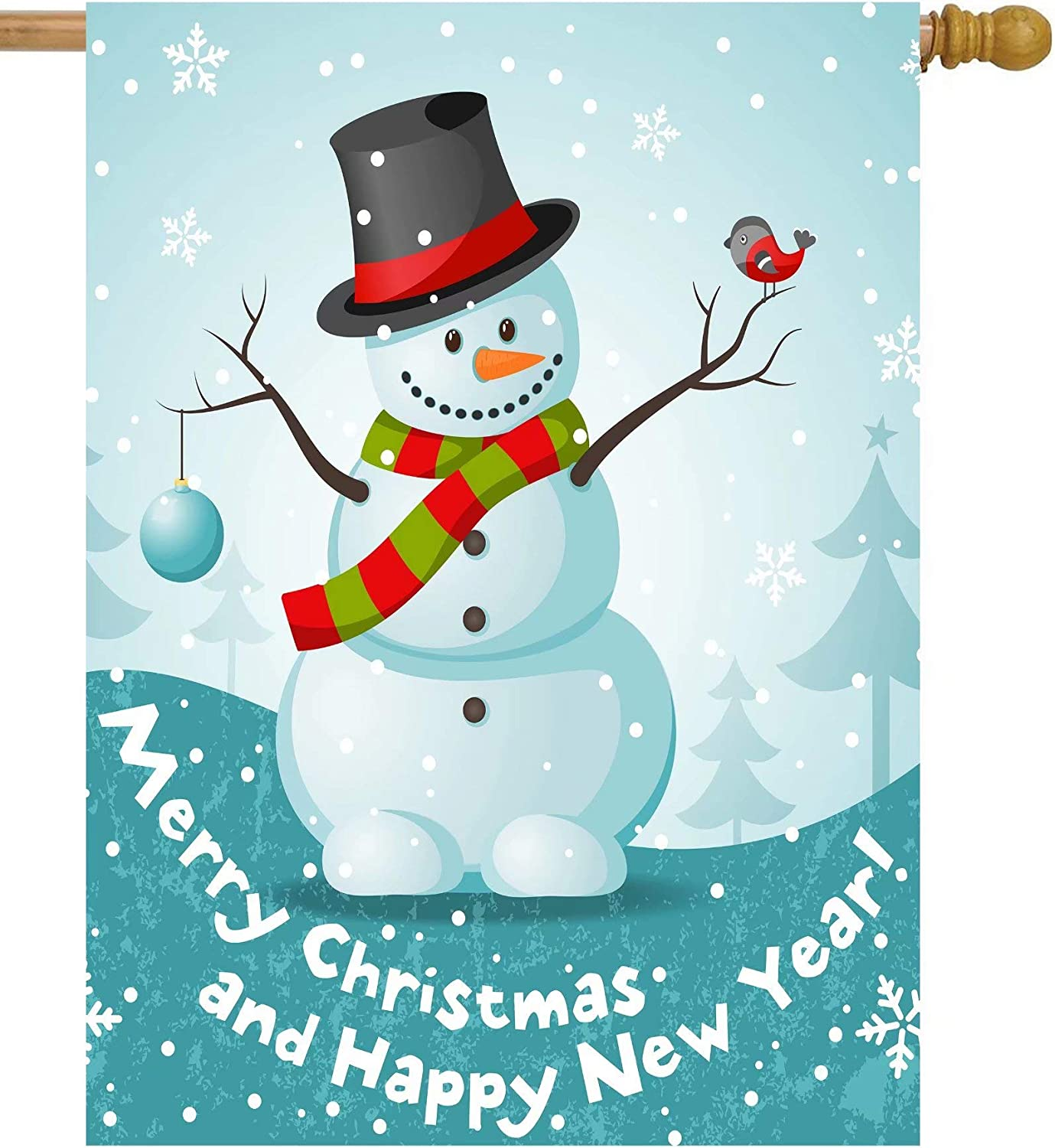 Shinesnow Snowman Merry Christmas Happy New Year Garden Yard Flag 12 X 18 Double Sided Polyester Cute Bird Winter Snowflake Welcome House Flag Banners For Patio Lawn Outdoor Home Decor