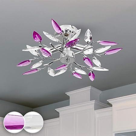 Jago® Plafonnier - 3 Ampoules de Max. 40 W, E14, Classe Énergétique de A++ à E, Design : Feuilles Acryliques Transparentes ou Lilas - Lustre, Lampe de Plafond, Luminaire pour Salon, Chambre (Lilas)