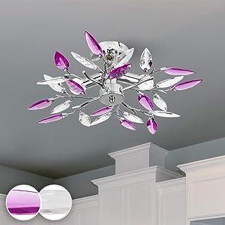 Jago® Plafonnier - 3 Ampoules de Max. 40 W, E14, Classe Énergétique de A++ à E, Design : Feuilles Acryliques Transparentes...