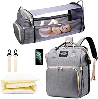 Diaper Bag Backpack with Changing Station, Nappy Baby Bags with Foldable Baby Bed & Portable Changing Pad, 900D Waterproof Crib Infant Sleeper Nest for Girl Boy (Grey)