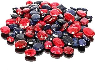 Piedras preciosas de zafiro azul natural rubí Lote 100 CT - 7 piezas de zafiro facetado, gemas sueltas de rubí para hacer ...