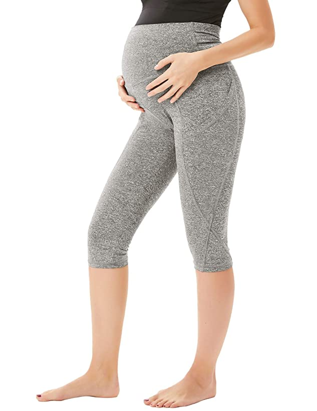 Women Maternity Over The Belly Active Lounge Comfy Capri Yoga Pants with Pocket