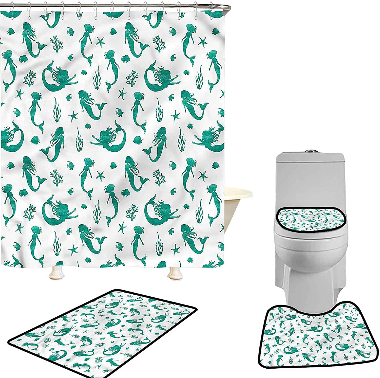 Hiiiman Shower Curtains Sets for Mermaid 4 Sale special price Pcs Watercol Tucson Mall Bathroom