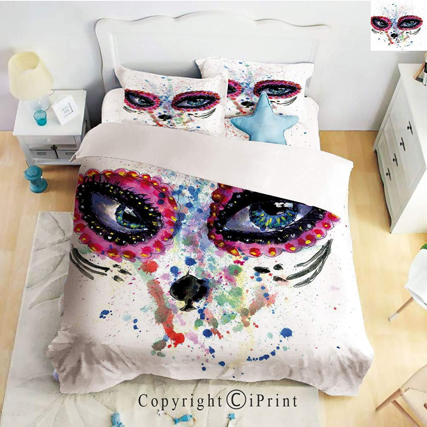 Homenon Classic Sheets 4 Piece Bed Sheet Set,Spooky Big Eyes Cat Face Girl Portrait Artistic Ceremonial Celebration,Multicolor,Twin Size,Softest Bed Sheets and Pillow Cases