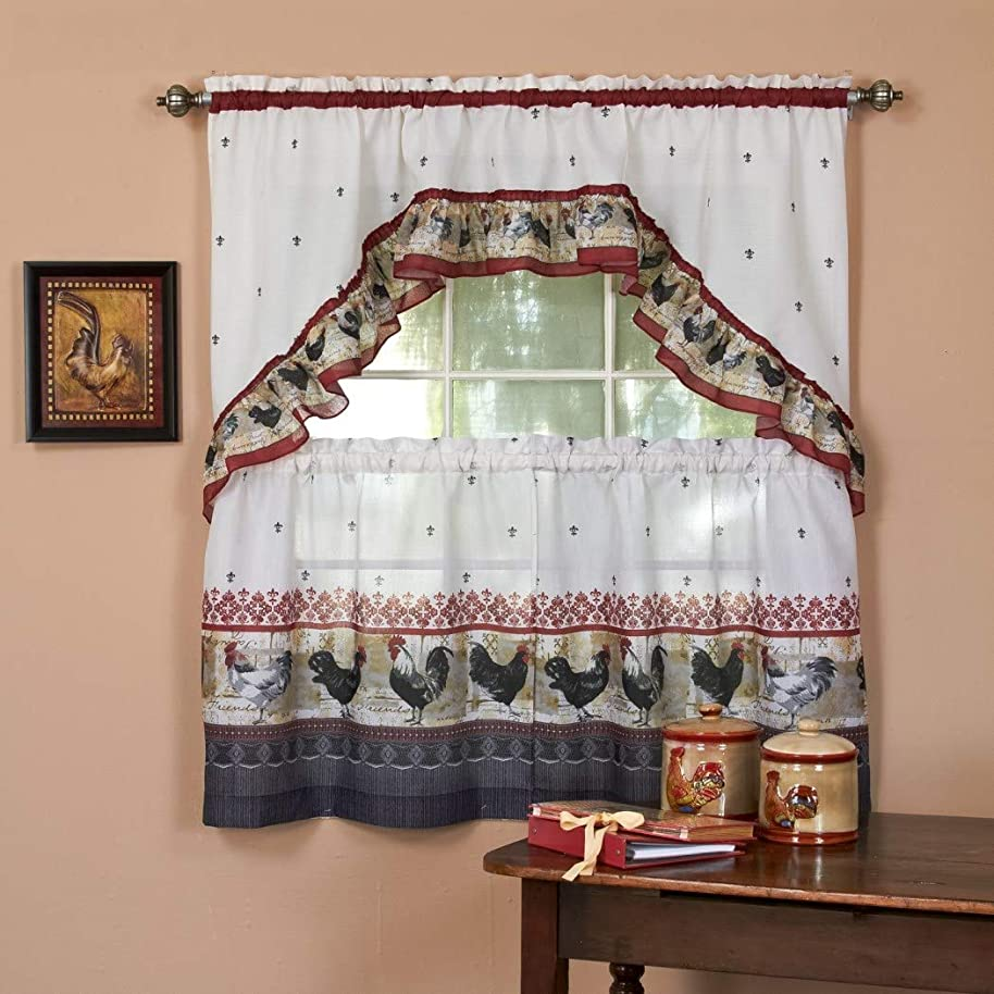 3pc Burgundy Grey Ornate Rooster Kitchen Tiers Swag Set 57x36, Lodge Cottage Window Treatment Morning Country Themed Traditional Rustic Polyester, Red Color Chicken Kitchen Curtains Log Cabin