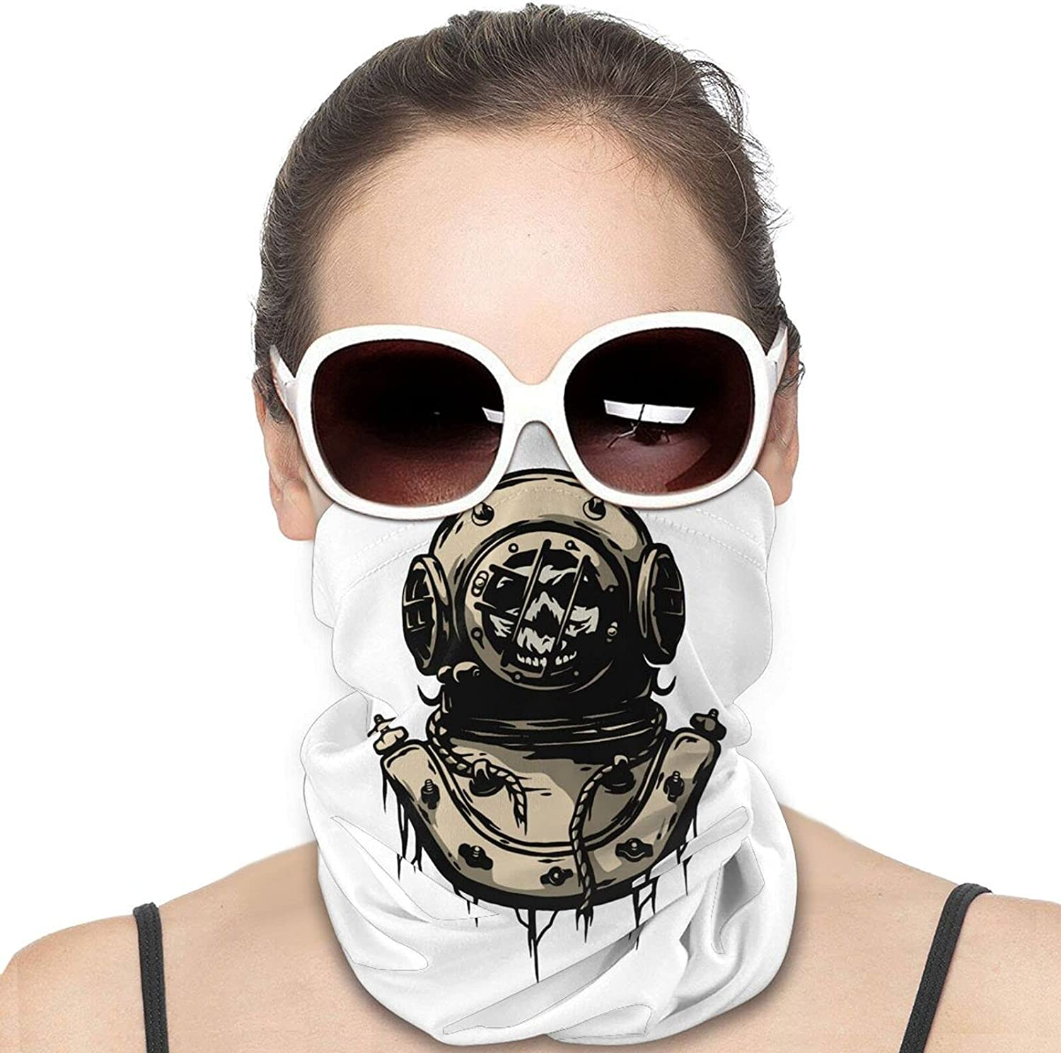 Old Iron Diving Helmet Round Neck Gaiter Bandnas Face Cover Uv Protection Prevent bask in Ice Scarf Headbands Perfect for Motorcycle Cycling Running Festival Raves Outdoors