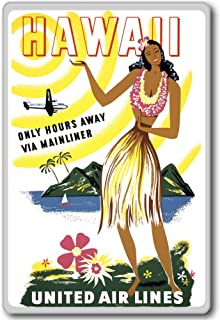 Hawaii: Only Hours Away Via Mainliner United Air Lines - Vintage Aviation fridge magnet - ?????????