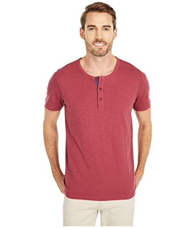 The Normal Brand Slub Short Sleeve Henley (Burgundy) Men
