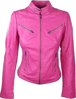 2131 Ladies Women Real Leather Slim Biker Style Pink Jacket