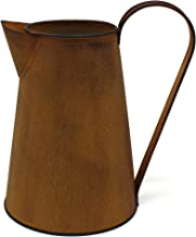 CVHOMEDECO. 7 Inch Rusty Milk Pitcher, Country Rustic Primitives Metal Watering Can Jug Vase for Home and Garden Décor.