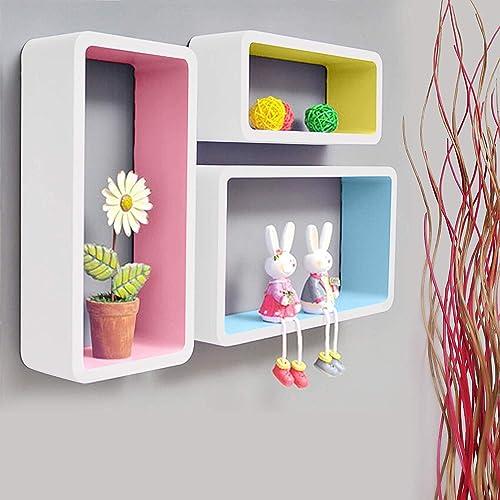 Alyka Floating Shelf Wall Hanging Display Horizontal Rack Furniture Cabinet Organizer Corner Book Stand Showcase for Home Living Room Decor Set of 3 Multi Color