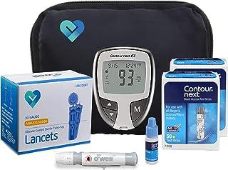 O'WELL Contour NEXT EZ Diabetes Testing Kit | Starter Kit + 100 Refills | Contour NEXT EZ Meter, 100 Test Strips, 100 Lancets, Lancing Device, CONTROL SOLUTION, Log Book, Manual & Carry Case