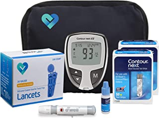 O'WELL Contour NEXT EZ Blood Glucose Monitoring Kit | Starter Kit + 100 Refills | Contour EZ Meter, 100 Test Strips, 100 O'WELL Lancets, Lancing Device, CONTROL SOLUTION, Log Book, Manual & Carry Case