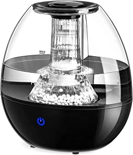 Homasy, Upgraded Cool Mist Humidifier With Maifan Stones, Super Quiet for Baby Bedroom, Office, Touch-Control With 3 Modes, Lastup To 24 Hours, Auto Shut-Off With Top-Fill Design, Black