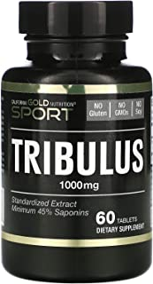 California Gold Nutrition Tribulus Standardized Extract Minimum 45 Saponins 1 000 mg 60 Tablets, Milk-Free, Egg-Free, Fish...