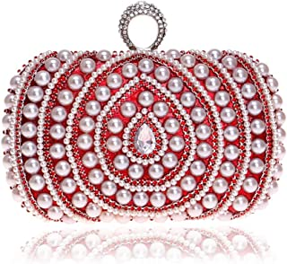 Runhuayou Women's Pearl Beaded Clutch Bags Crystal Rhinestone Nuptial Even Bag Lady Shoulder Messenger Banquet Bags Great for Casual or Many Other Occasions Such (Color : Red)