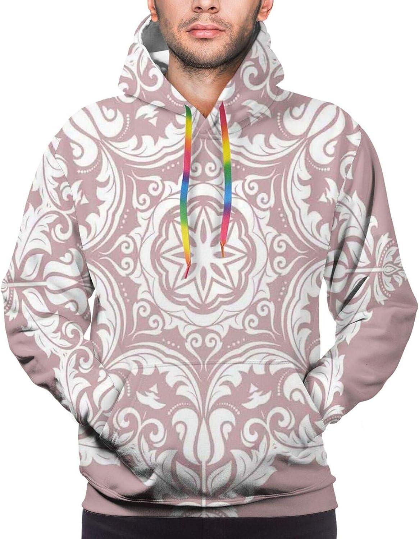 Men's Hoodies Sweatshirts,Round Mandala Design with Flower Pattern Chevron Zigzag Lines and Dots