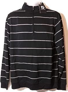 Pique Fleece Half-Zip Stripe Golf Pullover (Medium, Black/Heather Grey)