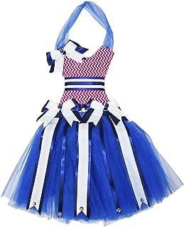 Chevron Tutu Dress Hair Bow Holder (Blue Red)