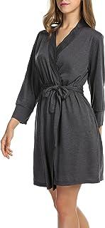 UNibelle Morgenmantel Damen Kurz aus Baumwolle Dünn 3/4 Ärmel Bademantel Kimono Saunamantel Robe Negligee Mit V-Ausschnitt