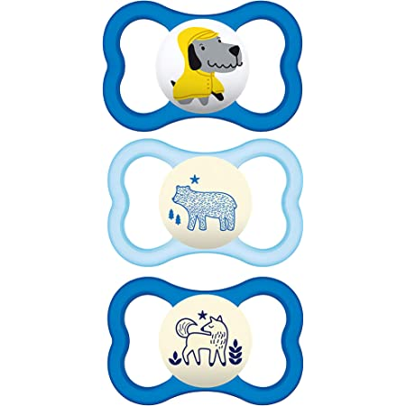 2 Day + 1 Night Pacifier Blue MAM Day and Night Pacifier Value Pack Best Pacifier for Breastfed Babies MAM Pacifiers 6 Plus Months Glow in The Dark Pacifier