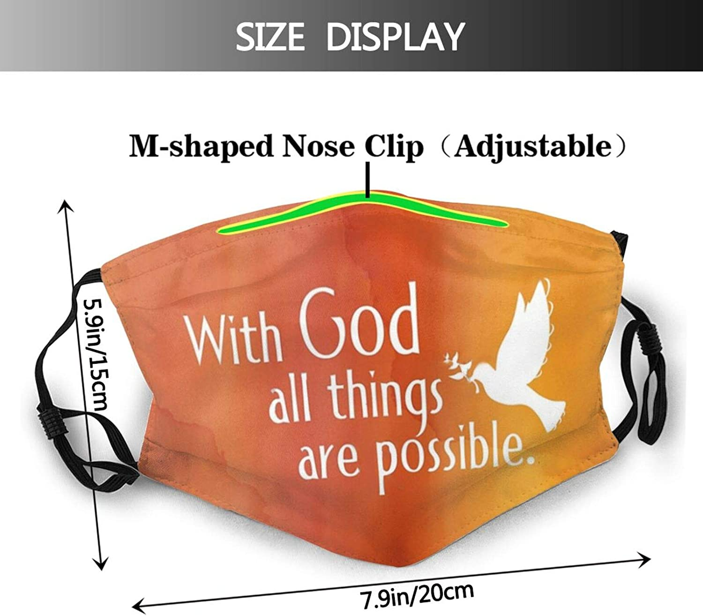 Cross Jesus Face Mask, Church Cross Balaclava Unisex Reusable Windproof Dustproof Scarf Adjustable With 2 Filter