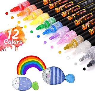 comprar comparacion Rotuladores de Pintura Acrílica, 12 colores 2 mm Marcadores Rotuladores Acrilicos para Tela, Pintar Piedras, Metal, Madera...