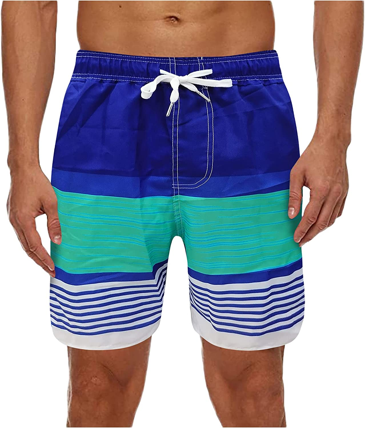 YOCheerful Mens Swim Trunks Quick Dry Board Shorts Patchwork Striped Printed Bathing Suits with Mesh Lining